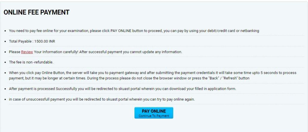 SKUAST Kashmir Entrance Payment/Fees