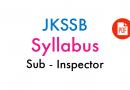 Syllabus for written test (Objective Type) Sub-Inspector – JKSSB