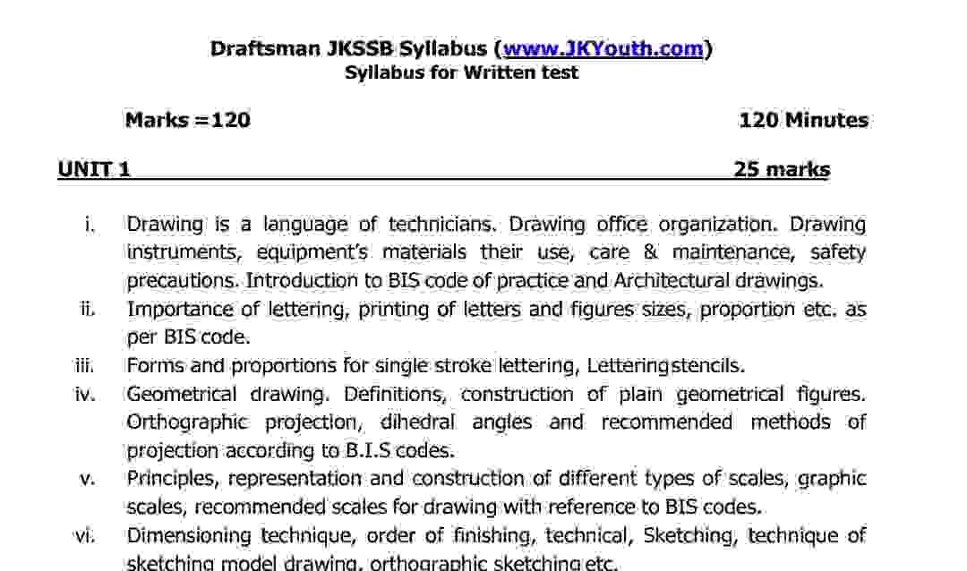 Draftsman Syllabus