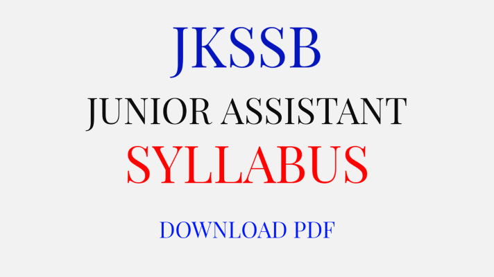 JKSSB Junior Assistant Syllabus