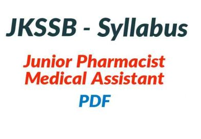JKSSB Junior Pharmacist Syllabus