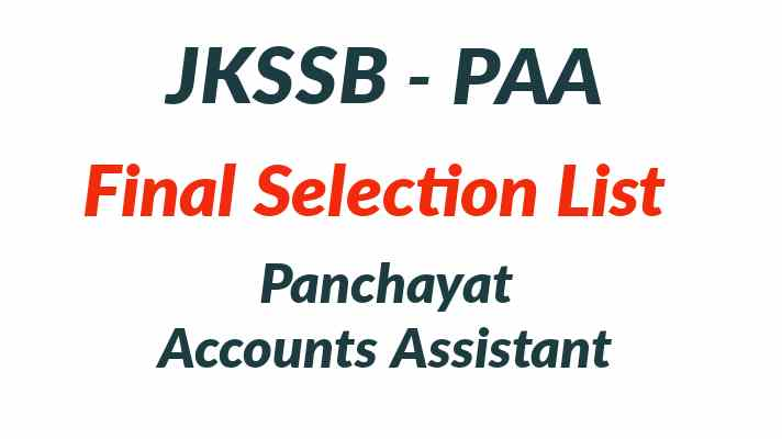 JKSSB Panchayat Accounts Assistant