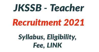 JKSSB Teacher Recruitment 2021