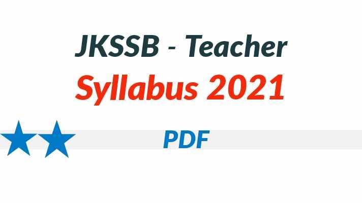 JKSSB Teacher Syllabus