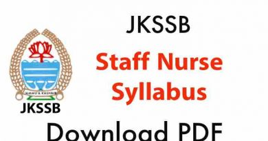 Staff nurse jkssb syllabus 2021
