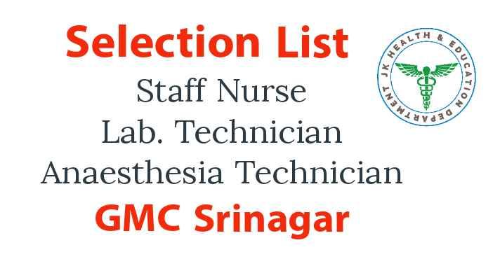 GMC Srinagar selection list