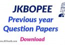 JKBOPEE Previous year Question Papers