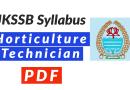 JKSSB Horticulture Technician Syllabus