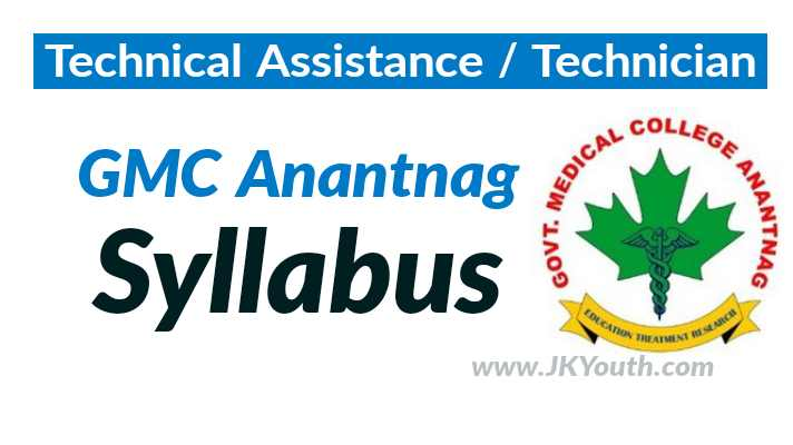 Technical Assistant/Technician Syllabus PDF - GMC Anantnag
